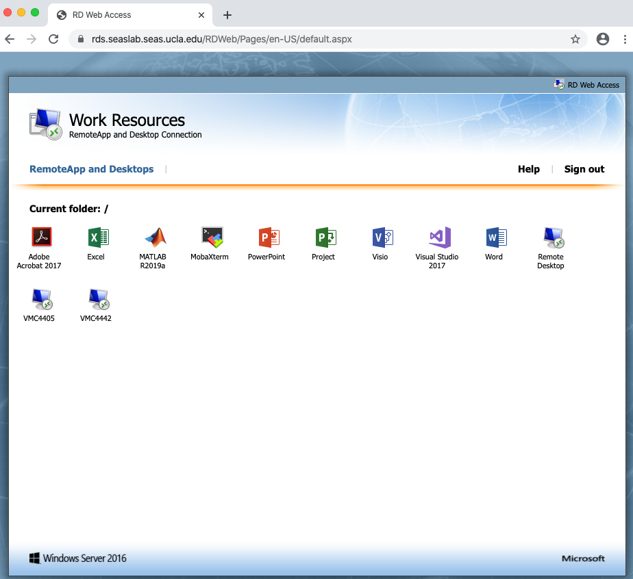 Work Resources page