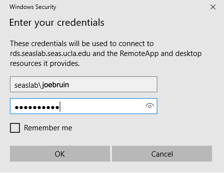 Credentials for Windows Security Prompt Window